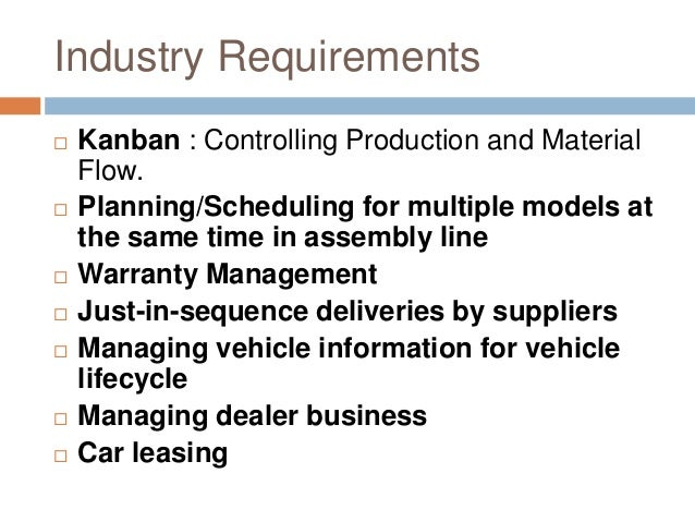 Industry Requirements  Kanban : Controlling Production and Material Flow.  Planning/Scheduling for multiple models at th...