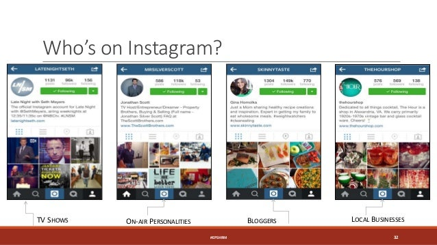 Who's on Instagram? TV SHOWS ON-AIR PERSONALITIES BLOGGERS LOCAL BUSINESSES #EPSHRM 32