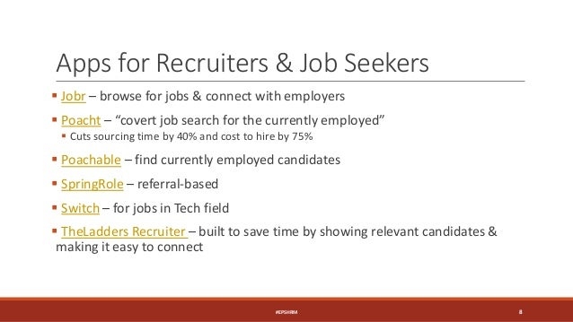 """Apps for Recruiters & Job Seekers  Jobr – browse for jobs & connect with employers  Poacht – """"covert job search for the ..."""