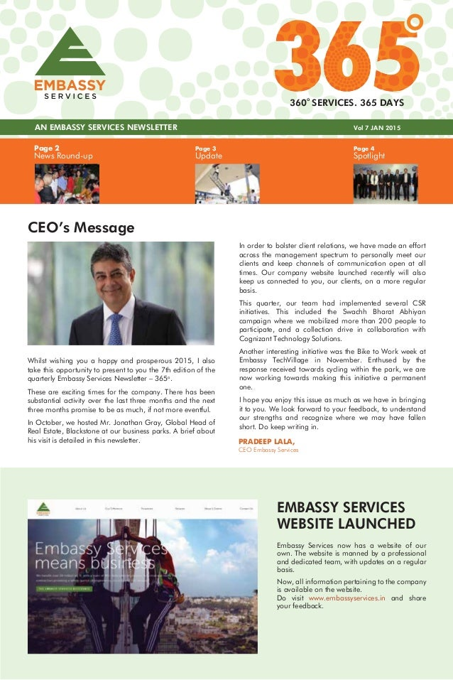 Page 4 Spotlight Page 3 Update Page 2 News Round-up AN EMBASSY SERVICES NEWSLETTER Vol 7 JAN 2015 360 SERVICES. 365 DAYS C...