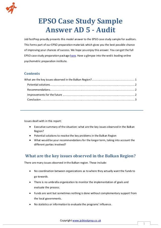 case study epso audit