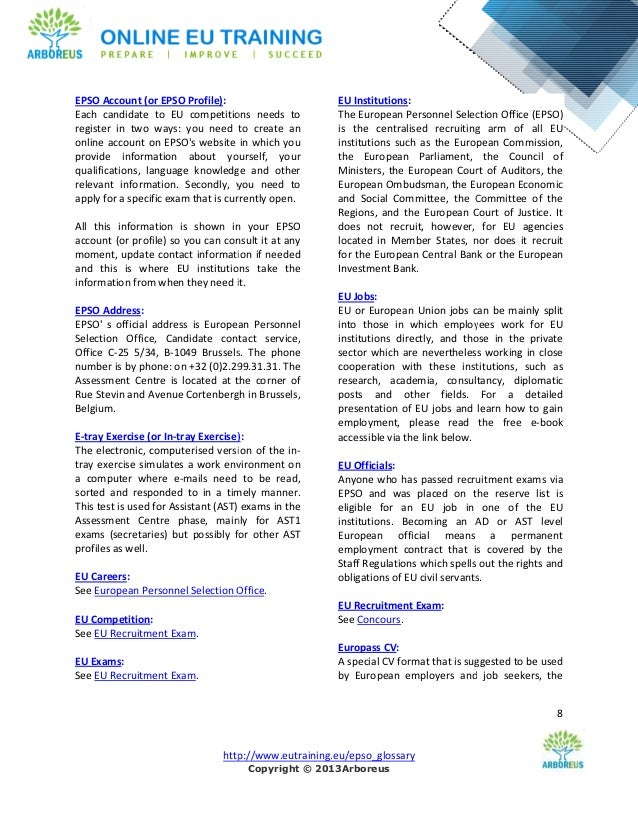 Epso glossary - European personnel selection office epso ...