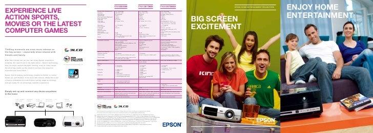 EPSON HOME ENTERTAINMENT PROJECTORS     BIG SCREEN EXCITEMENT