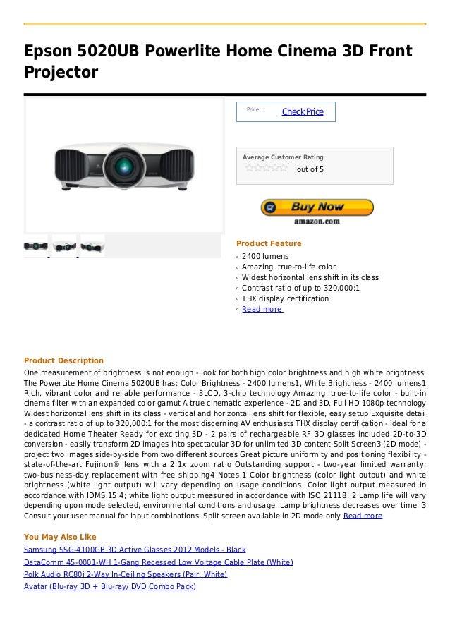 Epson 5020UB Powerlite Home Cinema 3D FrontProjector                                                                    Pr...