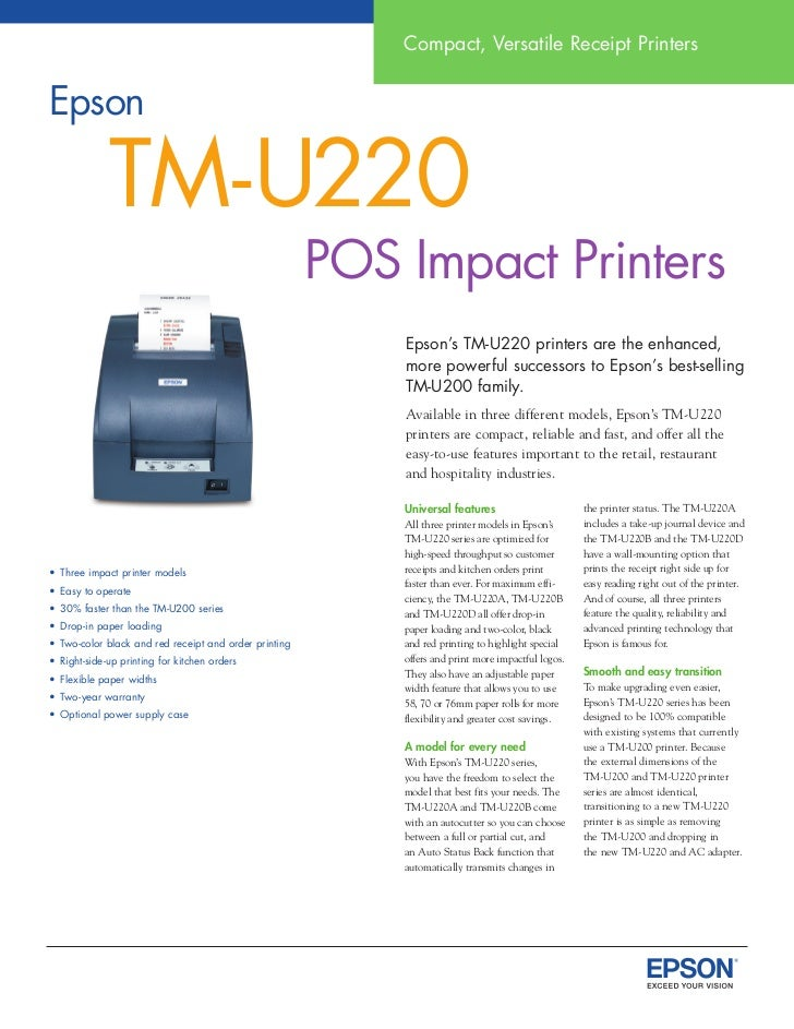 Epson Printer Data Sheet