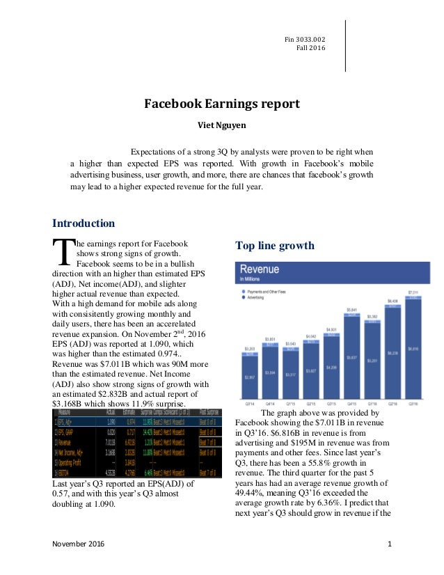 Fin 3033.002 Fall 2016 November 2016 1 Facebook Earnings report Viet Nguyen  Expectations of a strong ...