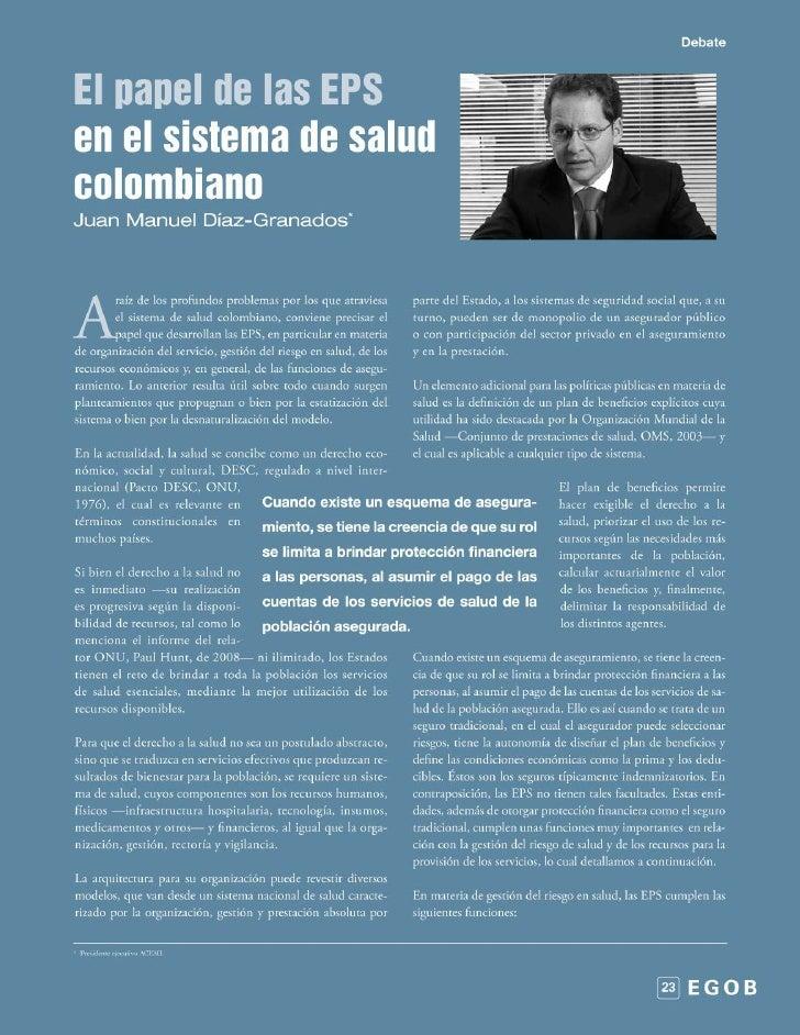 El papel de las EPS en el sistema de salud colombiano
