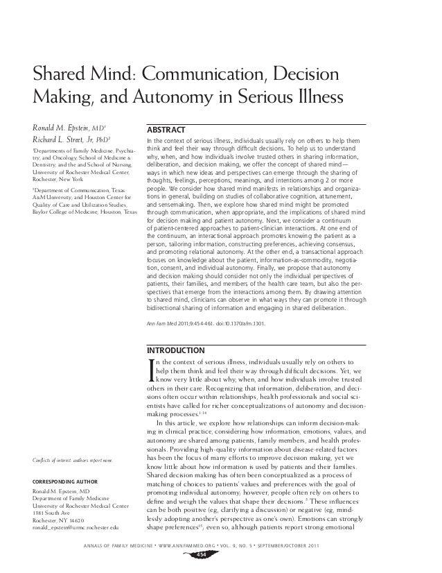 ANNALS OF FAMILY MEDICINE ✦ WWW.ANNFAMMED.ORG ✦ VOL. 9, NO. 5 ✦ SEPTEMBER/OCTOBER 2011 454 Shared Mind: Communication, Dec...