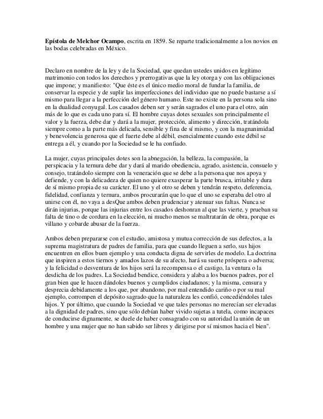 Epístola de Melchor Ocampo, escrita en 1859. Se reparte tradicionalmente a los novios enlas bodas celebradas en México.Dec...