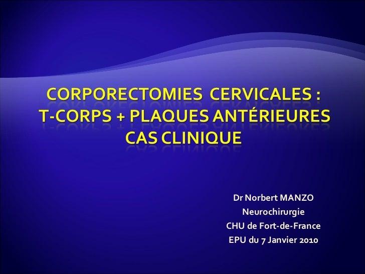 Dr Norbert MANZO Neurochirurgie CHU de Fort-de-France EPU du 7 Janvier 2010