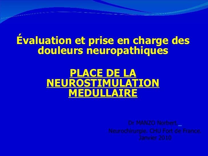 Évaluation et prise en charge des douleurs neuropathiques PLACE DE LA NEUROSTIMULATION MEDULLAIRE Dr MANZO Norbert.   Neur...