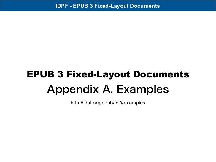 IDPF - EPUB 3 Fixed-Layout DocumentsEPUB 3 Fixed-Layout Documents   Appendix A. Examples          http://idpf.org/epub/fxl...