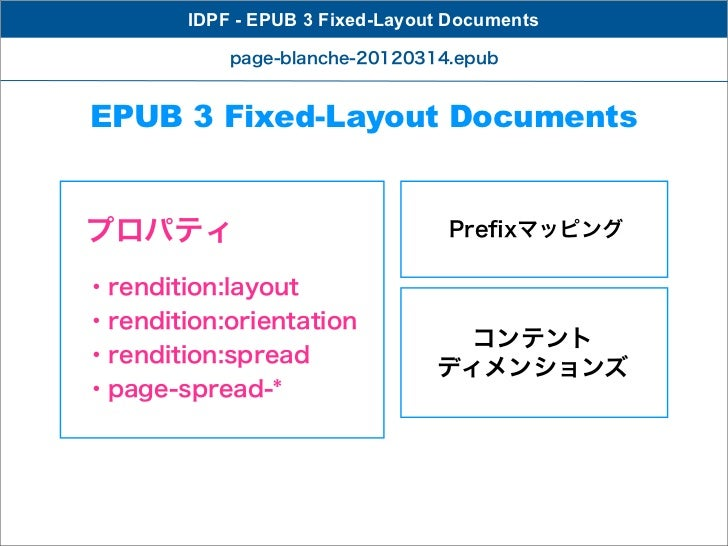 IDPF - EPUB 3 Fixed-Layout Documents            page-blanche-20120314.epubEPUB 3 Fixed-Layout Documentsプロパティ              ...