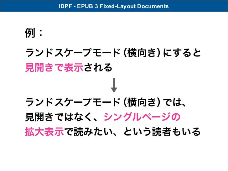IDPF - EPUB 3 Fixed-Layout Documents例:ランドスケープモード(横向き)にすると見開きで表示されるランドスケープモード(横向き)では、見開きではなく、シングルページの拡大表示で読みたい、という読者もいる