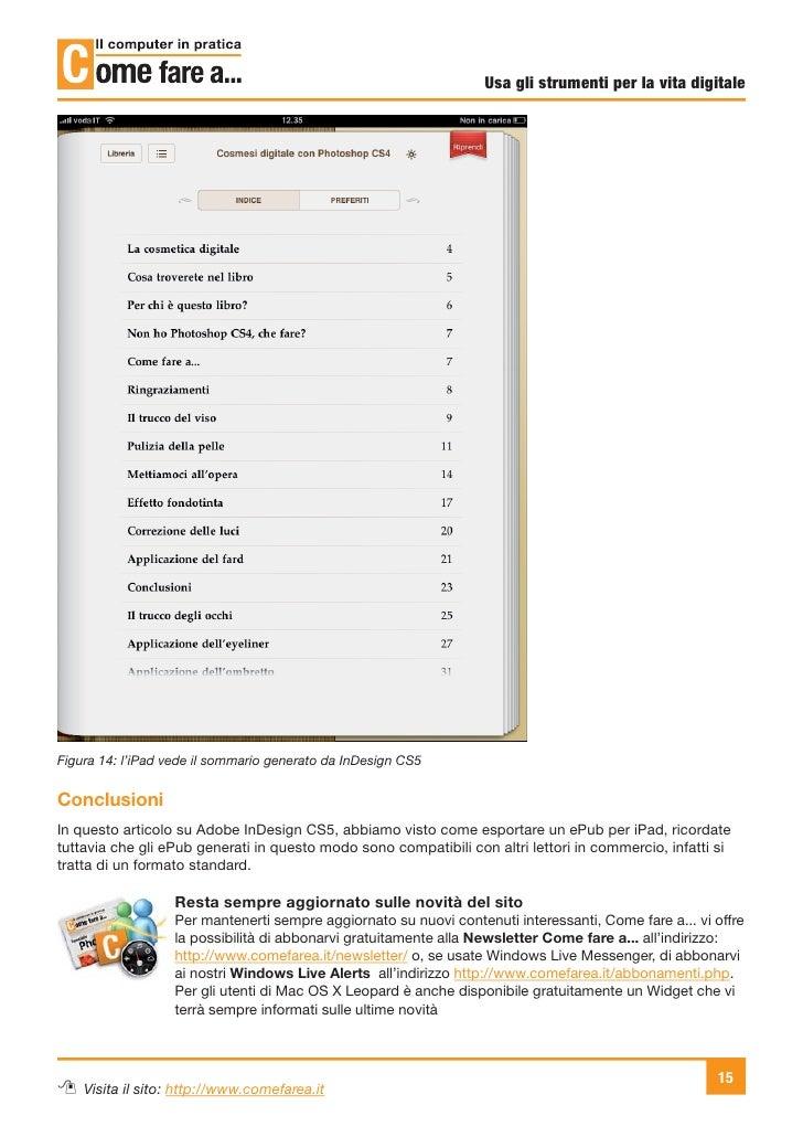 Usa gli strumenti per la vita digitaleFigura 14: l'iPad vede il sommario generato da InDesign CS5ConclusioniIn questo arti...