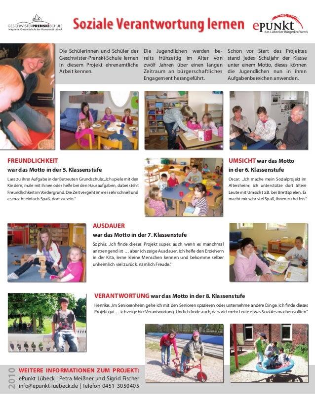 SozialeVerantwortung lernen Die Schülerinnen und Schüler der Geschwister-Prenski-Schule lernen in diesem Projekt ehrenamtl...