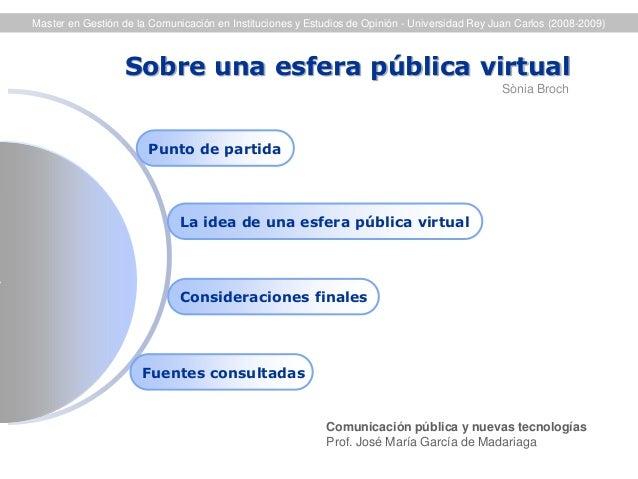 Sobre una esfera pública virtual  La idea de una esfera pública virtual  Fuentes consultadas  Punto de partida  Considerac...