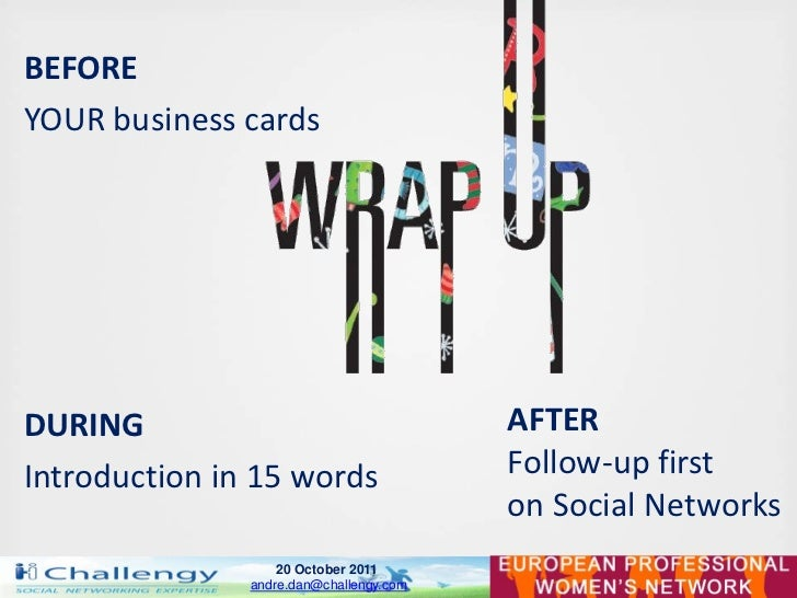 BEFOREYOUR business cardsDURING                                   AFTERIntroduction in 15 words                 Follow-up ...
