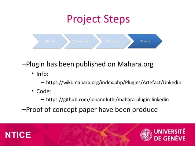 NTICE Project Steps –Plugin has been published on Mahara.org • Info: – https://wiki.mahara.org/index.php/Plugins/Artefact/...