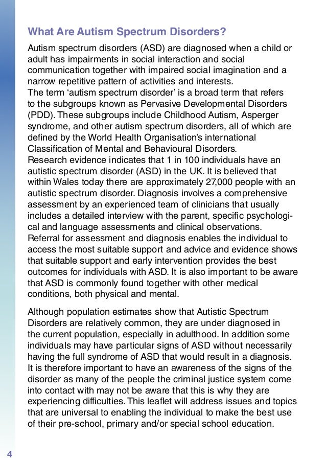 ASD A Guide for Practitioners Working in Pre School / Primary / Speci…