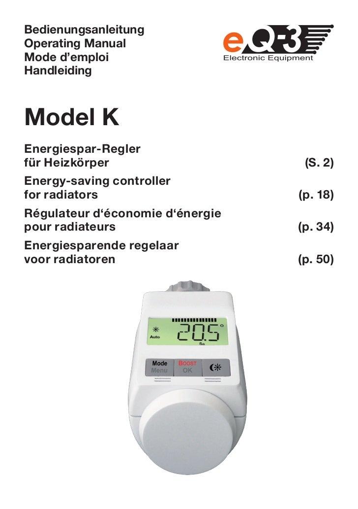 BedienungsanleitungOperating ManualMode d'emploiHandleidingModel KEnergiespar-Reglerfür Heizkörper                     (S....