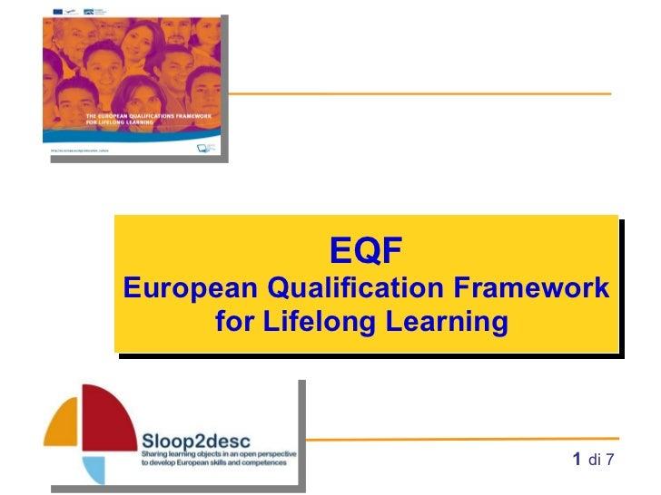 EQF European Qualification Framework for Lifelong Learning    di 7