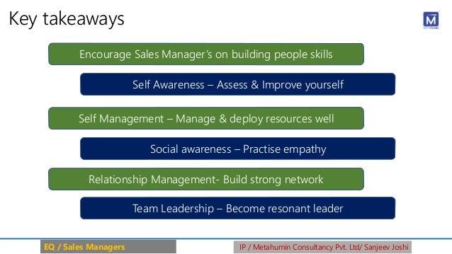 Key takeaways EQ / Sales Managers IP / Metahumin Consultancy Pvt. Ltd/ Sanjeev Joshi Social awareness – Practise empathy E...