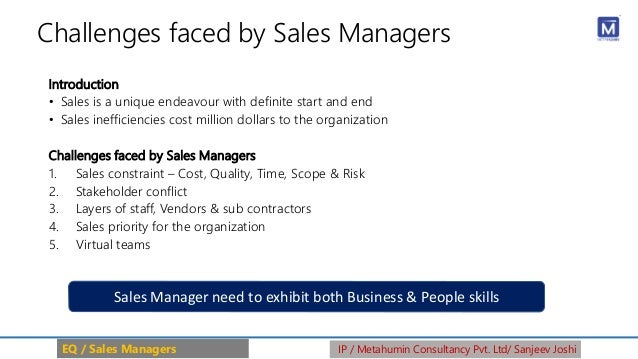 Challenges faced by Sales Managers Introduction • Sales is a unique endeavour with definite start and end • Sales ineffici...