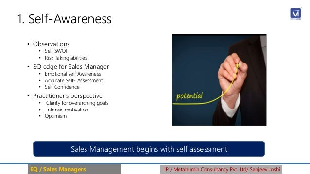 1. Self-Awareness • Observations • Self SWOT • Risk Taking abilities • EQ edge for Sales Manager • Emotional self Awarenes...