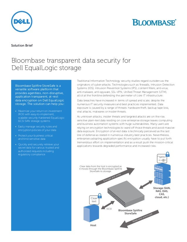 Solution BriefBloombase transparent data security forDell EqualLogic storage                                             T...