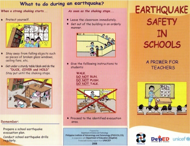 Earthquake safety in schools philippines for Best place to be in an earthquake