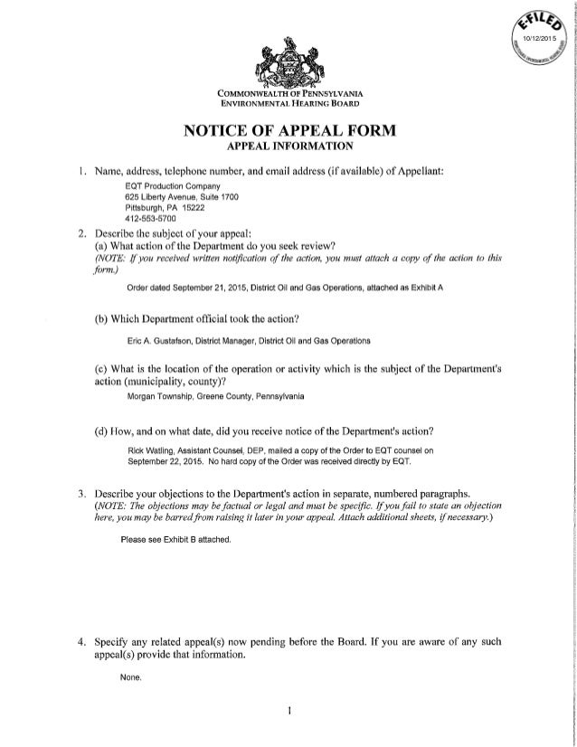 EQT Notice of Appeal Contesting DEP Order Finding Greene County Spill…