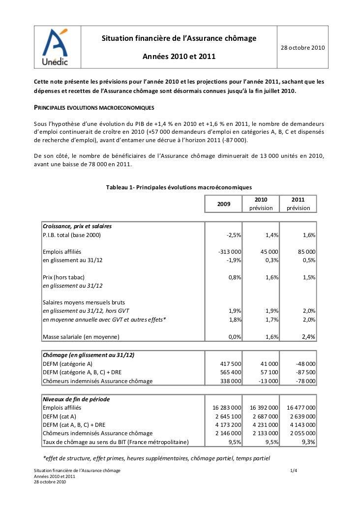 Octobre 2010 situation financi re de l assurance ch mage for Bureau assurance emploi