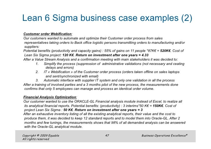 six sigma example narco penantly co