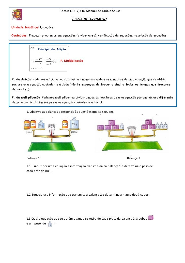 Escola E. B 2,3 D. Manuel de Faria e Sousa                                         FICHA DE TRABALHOUnidade temática: Equa...
