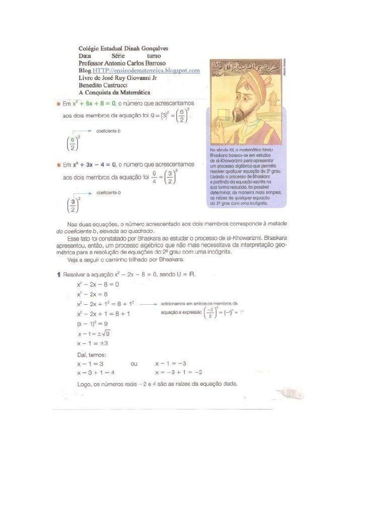 Equações de 2º grau CompletasProfessor Antonio Carlos Carneiro Barrosoaccbarroso@hotmail.comWWW.twitter.com/profbarrosoWWW...