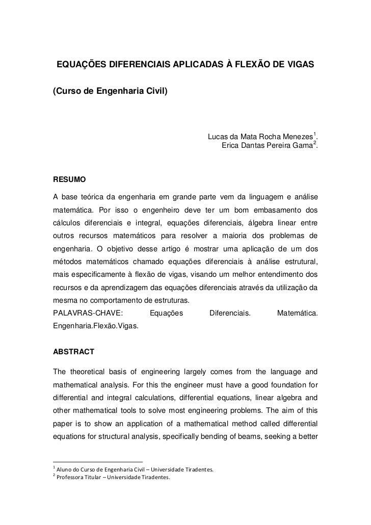 EQUAÇÕES DIFERENCIAIS APLICADAS À FLEXÃO DE VIGAS(Curso de Engenharia Civil)                                              ...