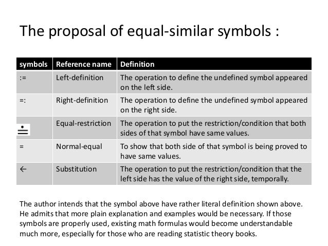 The proposal of equal-similar symbols : symbols Reference name Definition := Left-definition The operation to define the u...
