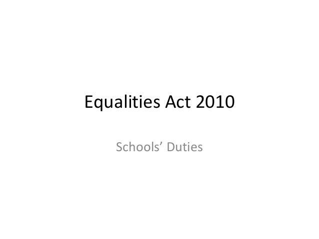 Equalities Act 2010 Schools' Duties