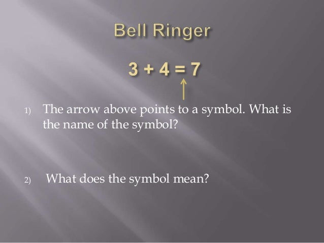 1) The arrow above points to a symbol. What is the name of the symbol? 2) What does the symbol mean?