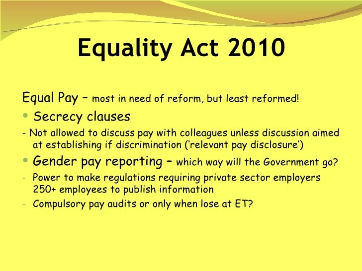 Sex discrimination act and equal pay act