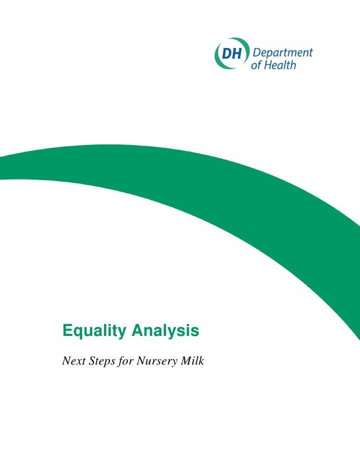Equality AnalysisNext Steps for Nursery Milk