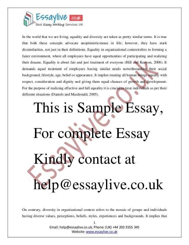 equality and diversity essay sample it implies that 2