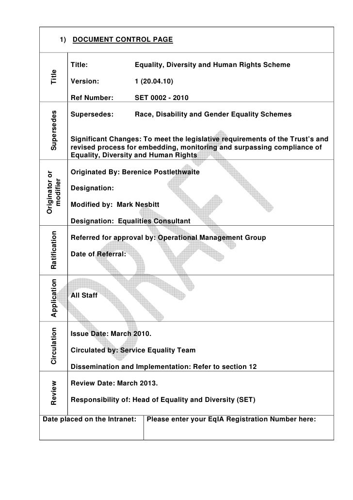 1) DOCUMENT CONTROL PAGE                        Title:              Equality, Diversity and Human Rights Scheme     Title ...