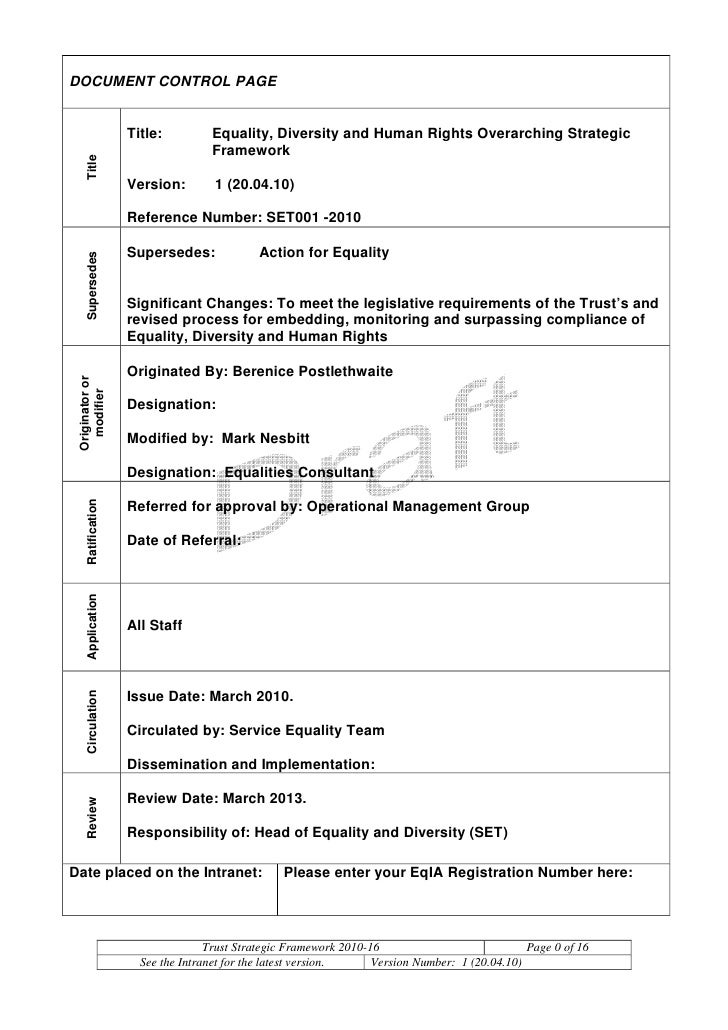 DOCUMENT CONTROL PAGE                      Title:         Equality, Diversity and Human Rights Overarching Strategic      ...