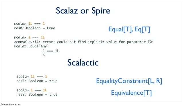 scala> 1L === 1 res0: Boolean = true scala> 1 === 1L <console>:14: error: could not find implicit value for parameter F0: ...