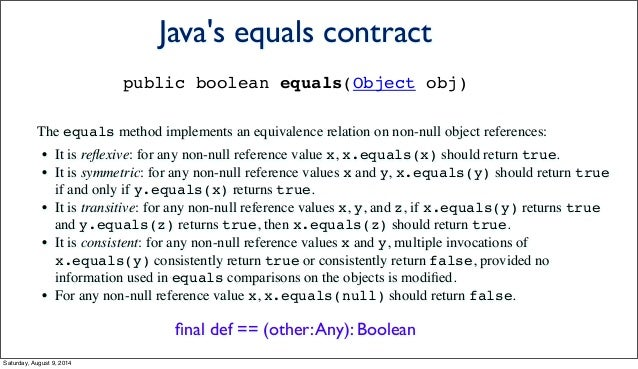 The equals method implements an equivalence relation on non-null object references: • It is reflexive: for any non-null ref...