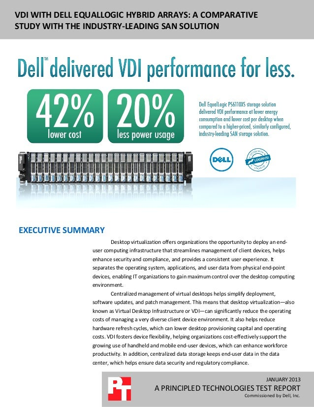 DELL EQUALLOGIC PS6110XS ENTERPRISE VDIVDI WITH DELL EQUALLOGIC HYBRID ARRAYS: A COMPARATIVE PERFORMANCE AND POWER USAGEST...