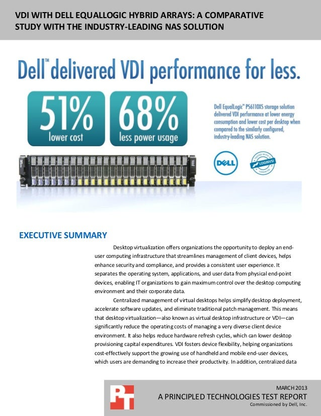 DELL EQUALLOGIC PS6110XS ENTERPRISE VDIPERFORMANCE AND POWER USAGENOVEMBER 2012A PRINCIPLED TECHNOLOGIES REPORTCommissione...
