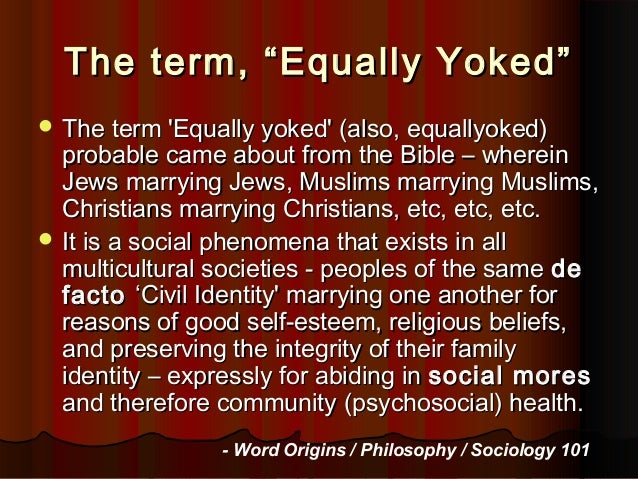 What is equally yoked mean